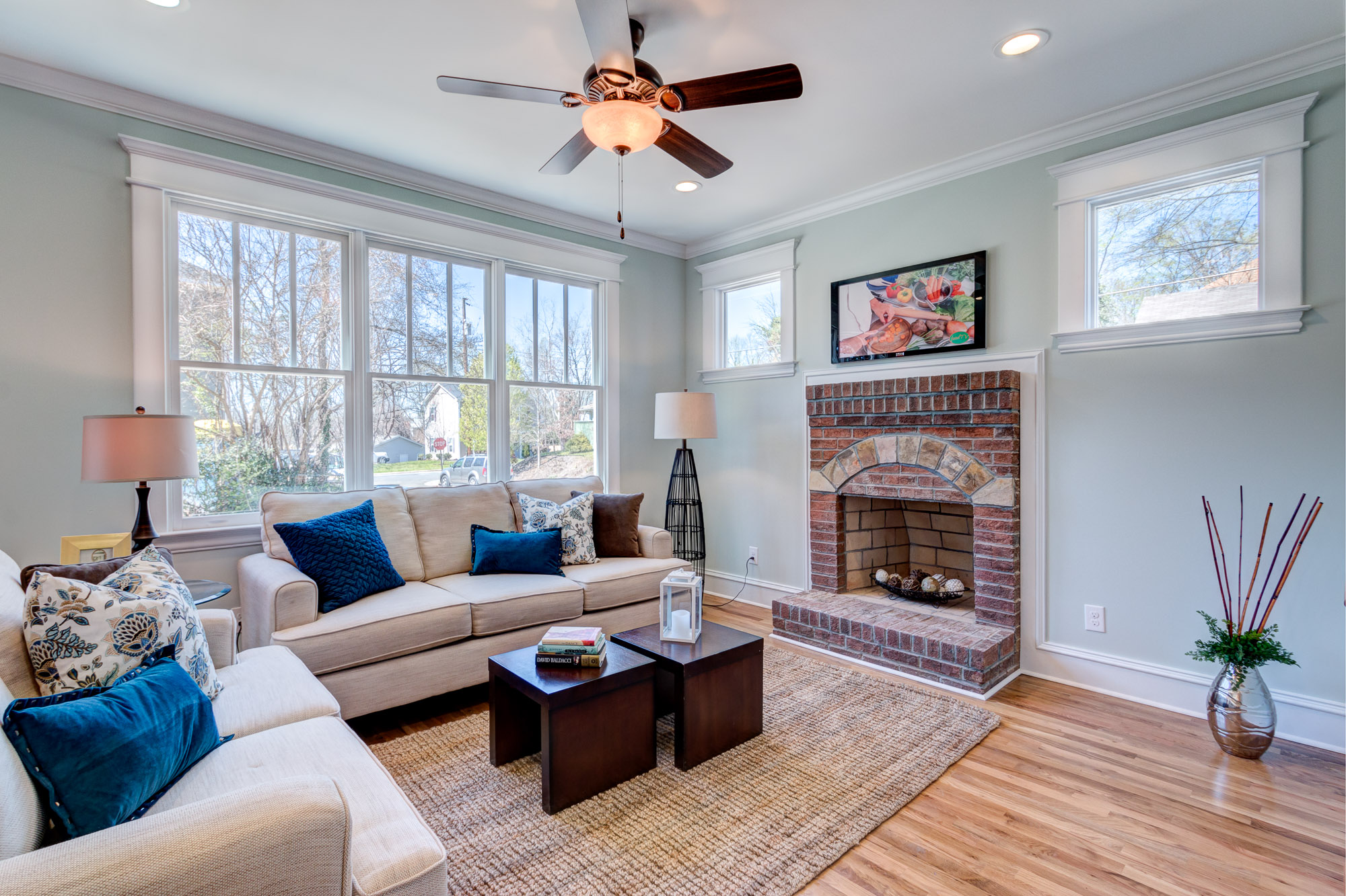 Real Estate Photography: Brick Fireplace Living Room in Durham, NC new construction